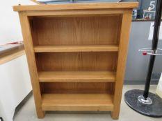 Rutland oak small wide bookcase (72)