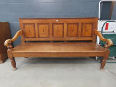 Victorian oak three-seater bench/settle