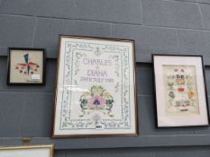 3 embroideries, 1951 exhibition, Charles & Diana wedding, and The Golden Jubilee