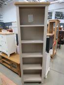 Rutland painted oak tall narrow bookcase (82)