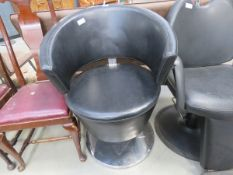 5177 Black leather effect and chrome adjustable swivel barber's chair