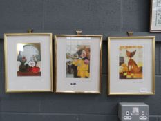 3 Rosina Watchmeister prints: still life with fruit, trumpet player, and cat