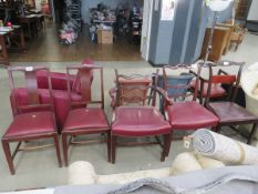 Pair of 1930's dining chairs with red rexine drop in seats, with 3 Chippendale style dining chairs