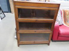 Beech Globe Wernicke-style 3 tier bookcase