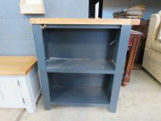 5523 - Blue painted oak top open front bookcase