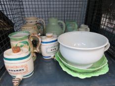 2 Wade sherry and gin barrels, chamber pot, quantity of Carlton ware dishes, various jugs and studio