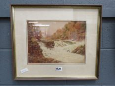 JM Vernon watercolour: river with rapids and woodland
