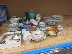 Miniature crested ware tea service, Royal Copenhagen trinket dish, plus Oriental bowl and plate,