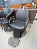 5187 Black leather effect adjustable barber's chair with footrest