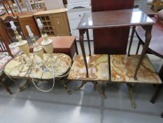 Pair of onyx lamp tables on gilt painted bases, plus oval coffee table, 3 lamps, ash tray,