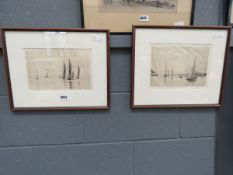 Pair of engravings: yachts in harbour, and sea
