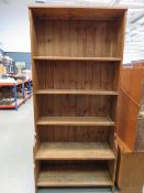 Pine open fronted bookcase