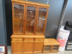 5317 - Glazed beech 3 door display cabinet with cupboard base under plus a matching TV cabinet
