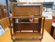 Teak folding 2 tier tea trolley Tray is marked but otherwise sound