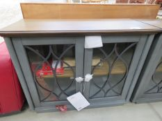 Accent glazed and grey painted double door display cabinet (AF)