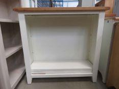 5009 Cream painted oak top open front bookcase (166)