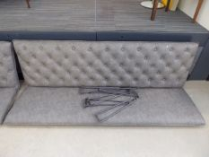 5533 Grey studded back bench seat, with legs (no fixings)