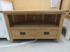 5030 - (56) Large oak corner TV audio cabinet with shelf and drawer