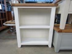 5512 - White painted oak top 2 shelf open front bookcase