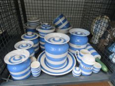 Cage containing quantity of Cornish ware Few chips to bowls and some grazing to butter dish. Small