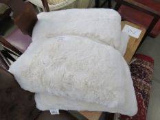 Pair of fluffy cream Mon Chateau Luxury cushions