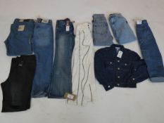 Selection of denim wear to include Levi, BDG, ASOS, etc (quantity of 9 items)