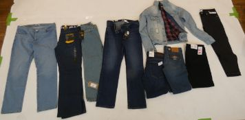Selection of denim wear to include FB, Levi, Couture Club, etc (quantity of 9 items)