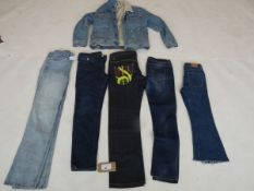 Selection of denim wear to include Topshop, BDG, Loom, etc
