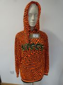 Nicce neon orange print hoodie size XS