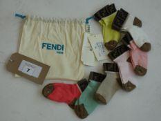 Fendi Kids baby girls multi coloured cotton socks 7 pack age 18-24 months