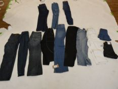 Selection of denim wear to include BDG, Burton, Pull&Bear, etc