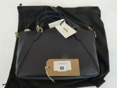 Jasper Conran leather athena grab bag in navy with dust bag