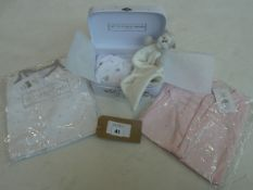 Selection of The Little White Company clothing to include sleep suit & comforter set age 0-3 months,