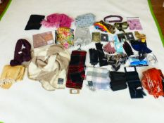 Selection of accessories to include gloves, scarfs, belts, etc