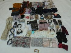 Selection of accessories to include scarfs, gloves, umbrella, etc