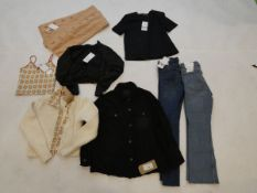 Selection of Zara clothing to include jeans, top, jacket, etc