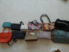 Selection of bags, purses, handbags, etc