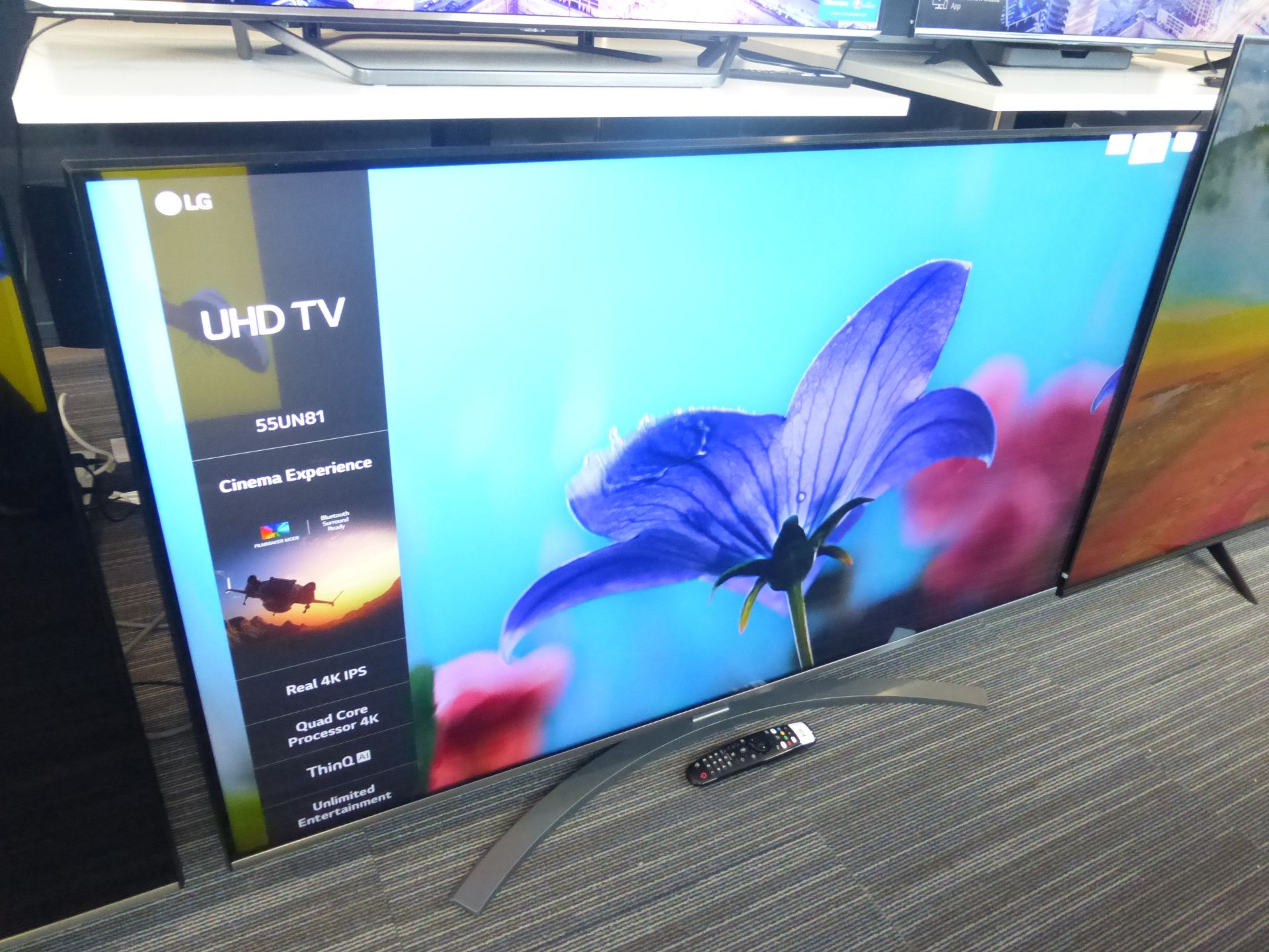 LG 55'' 4K TV Model: 55UN81006LB, includes remote (R26) and box (B49) Screen has no visible