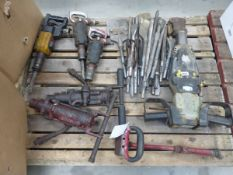 Pallet containing quantity of small air breakers, air scabbler and large heavy duty air breaker with