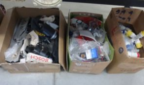 3 boxes containing electric sockets, filters, fittings, gaskets, power tool accessories and other