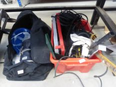 Bag and box containing hard hat, overalls, drill bits, paint roller, rope etc