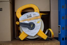 6 x 50m yellow and grey surveyors type tape measures