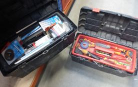 2 toolboxes containing electricians screwdrivers and tools and welding rods