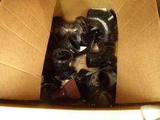 Small cardboard box of drain pipe and waste pipe fittings