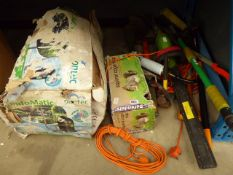 Pond vac, squirrel trap and a qty of garden tools