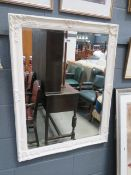 (11) Rectangular bevelled mirror in white painted frame