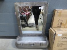Silver painted metal mirror with storage space under