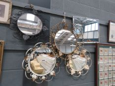 (16) 4 circular mirrors in wrought iron frames plus rectangular bevelled mirror