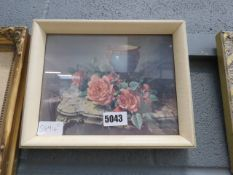 (23) Vernon Ward print of still life with roses, consul table and urn
