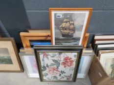 (29/5) Quantity of framed British maps, circa 1900's, sailing ships at sea, Mediterranean Villa